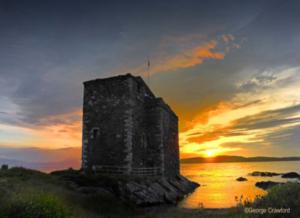 Stunning sunset over Portencross Castle